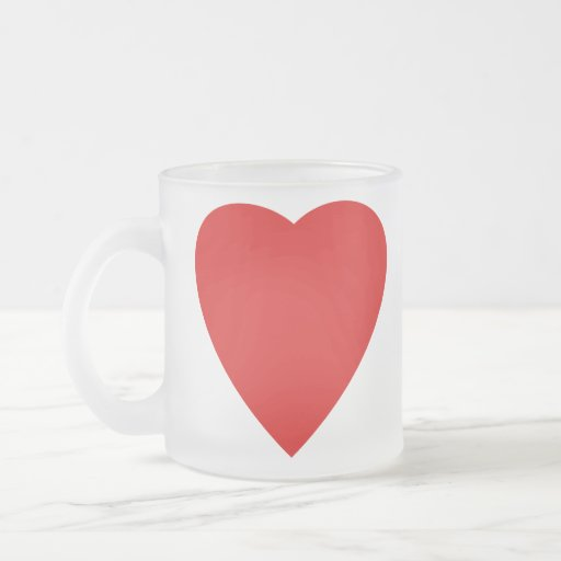 Red and White Love Heart Design. 10 Oz Frosted Glass Coffee Mug