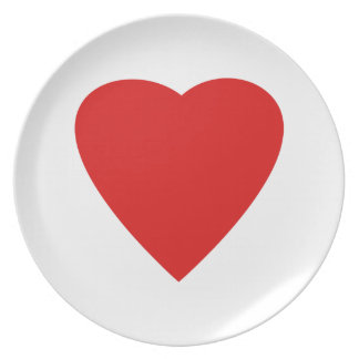 Red and White Love Heart Design. Plate