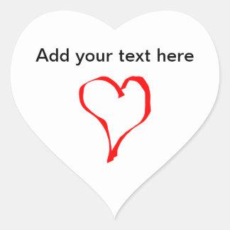 Red and White Love Heart Design Heart Sticker