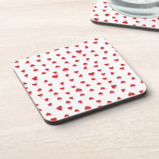Red and White Love Heart Drink Coaster