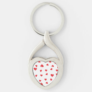Red and White Love Heart Silver-Colored Heart-Shaped Metal Keychain