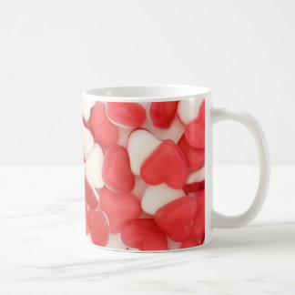 red and white love heart sweets background mug