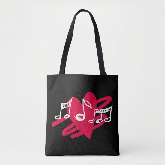 Red and white love music design tote bag