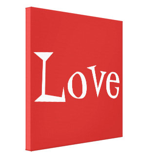 Red and White Love Word Wrapped Canvas Print