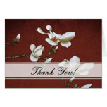 Red and White Magnolia Thank you Card