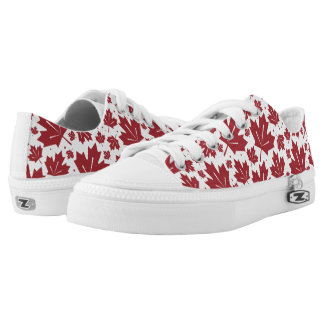 Red and White Maple Leaves Pattern Low-Top Sneakers