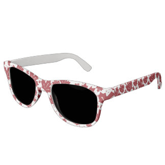 Red and White Maple Leaves Pattern Sunglasses