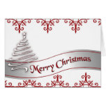 Red and White Marry Christmas Ribbon card