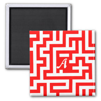 Red and White Maze Monogram Refrigerator Magnets