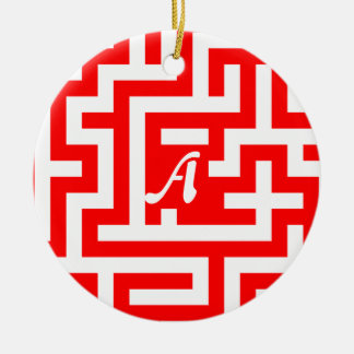 Red and White Maze Monogram Double-Sided Ceramic Round Christmas Ornament