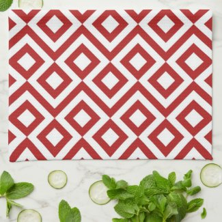 Red and White Meander Hand Towels