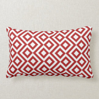 Red and White Meander Lumbar Pillow