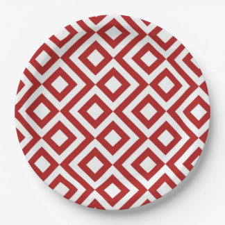 Red and White Meander Paper Plate