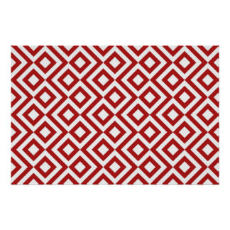 Red and White Meander Poster