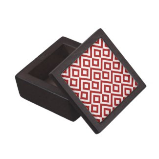 Red and White Meander Premium Jewelry Box