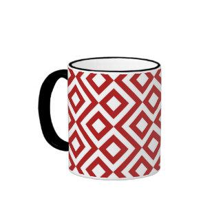 Red and White Meander Ringer Mug