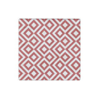 Red and White Meander Stone Magnet