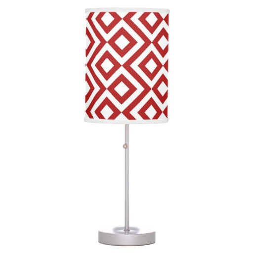 Red and White Meander Table Lamps