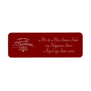 red and white merry christmas and happy new year label