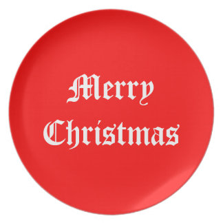 Red and white Merry Christmas plate