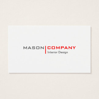 Red and White Minimalistic Business Card