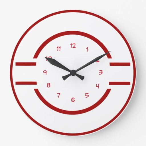 Red And White Modern Wall Clock Zazzle
