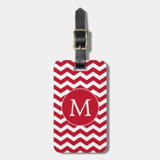 Red and White Monogram Chevron Stripes Luggage Tag