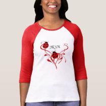 Red and White Monogram Ladybug Raglan T-Shirt