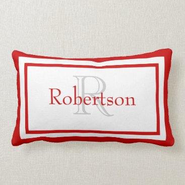 Red and White Monogram Name Keepsake Pillow
