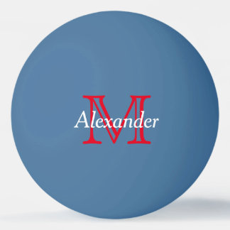 Red and White Monogram on Blue Ping-Pong Ball