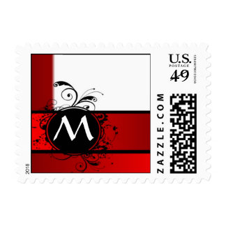 Red and white monogram postage stamps