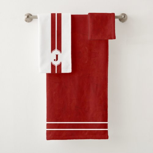 Red and White Monogram Stripe Bath Towel Set