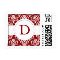 Red and White Monogram Wedding Stamp