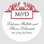 Red and White Monogram Wedding Stickers