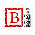 Red and White Monogrammed Postage Stamps - dots Stamps