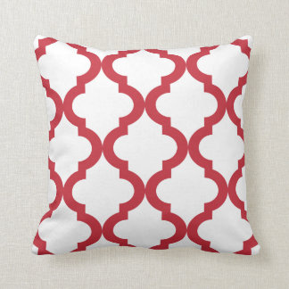 Red and White Moroccan Quatrefoil Pillow