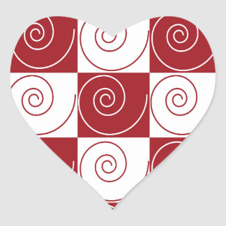 Red and White Mouse Tails Heart Sticker