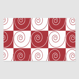 Red and White Mouse Tails Rectangular Sticker