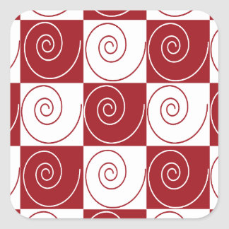 Red and White Mouse Tails Square Sticker