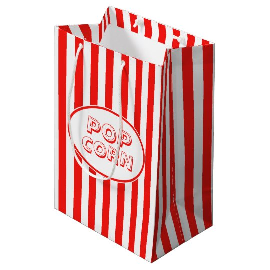 Red And White Movie Themed Popcorn Medium Gift Bag