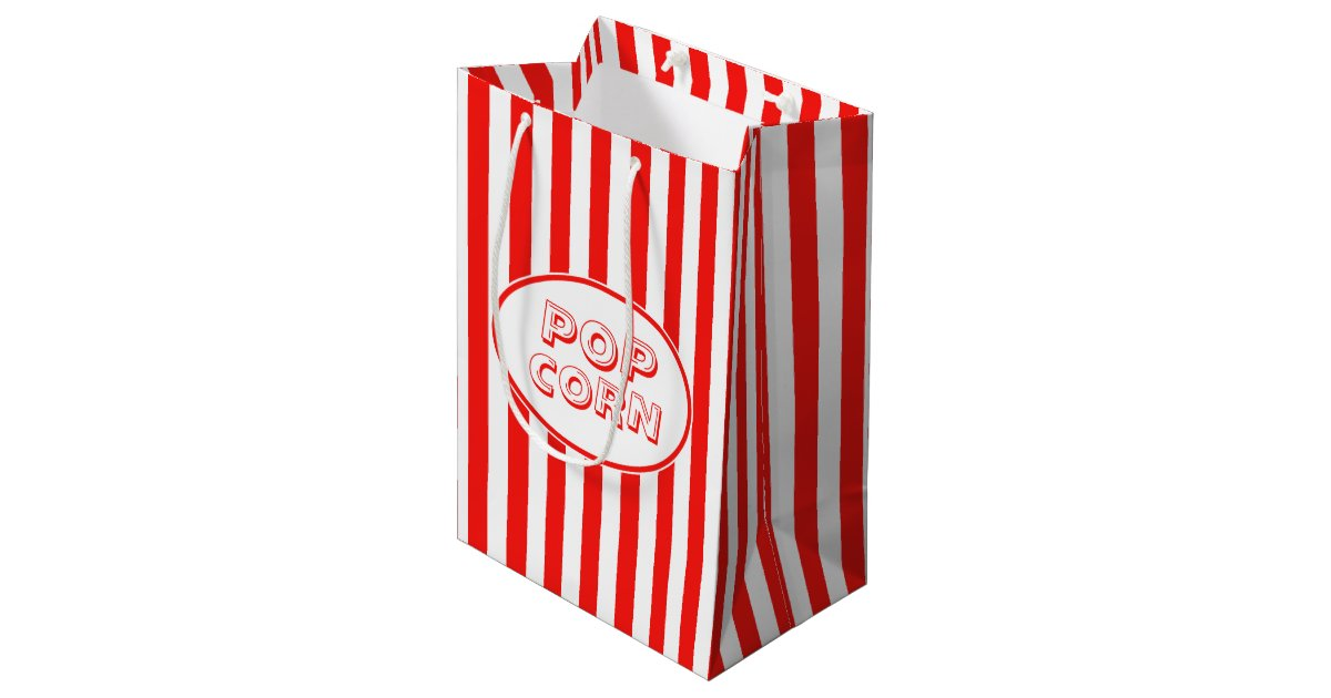 Red And White Movie Themed Popcorn Medium Gift Bag Zazzle