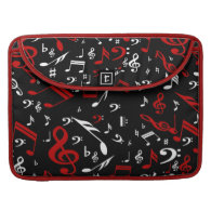 Red and white Musical notes on black Sleeve For MacBooks
