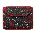 Red and white Musical notes on black MacBook Pro Sleeve