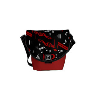 Red and white Musical notes on black Messenger Bags