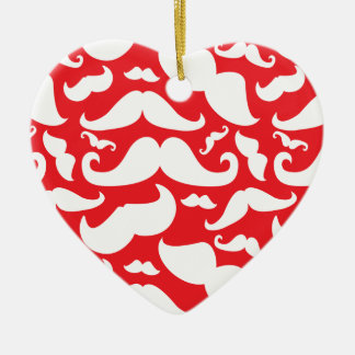 Red and White Mustache Pattern Double-Sided Heart Ceramic Christmas Ornament