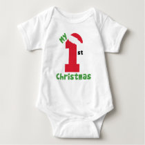 Red and White My First Christmas Outfit Baby Bodysuit