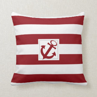 Red and White Nautical Stripe with Anchor Throw Pillows