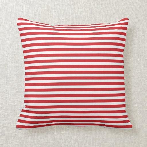 Throw Pillows Red And White : Red and White Nautical Stripes Throw Pillow Zazzle