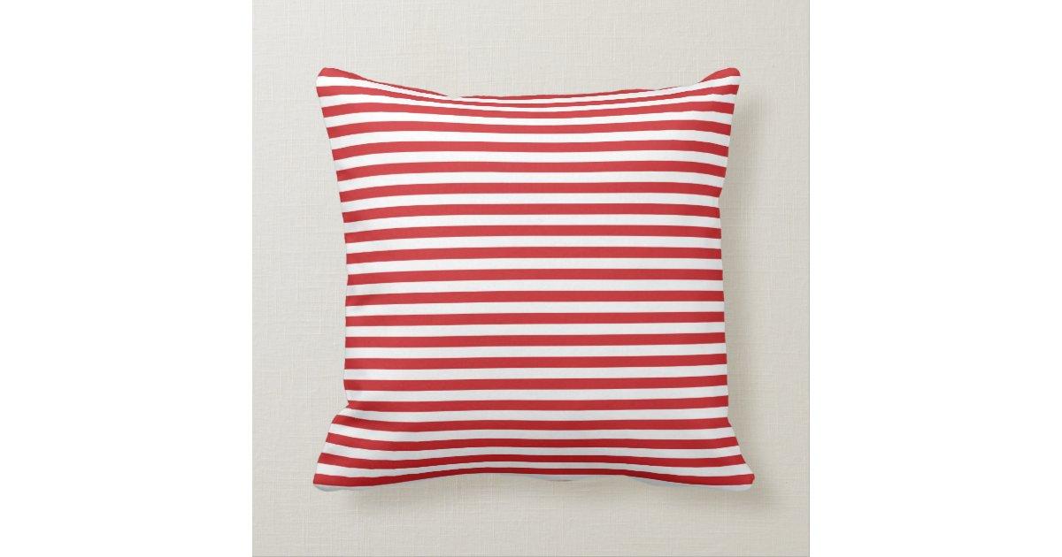 Red and White Nautical Stripes Throw Pillow Zazzle