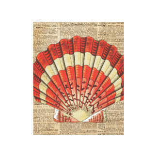 Red and White Ocean Sea Shell Dictionary Book Page Canvas Print